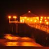 """Cresent Moon Over Pier"".  Manhattan Beach Pier, Manhattan Beach, CA. 8/24/09 @ 9:42 PM (one exposure)."