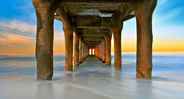 """Sunrise Sweep"".  Long exposure at sunrise, under the pier."