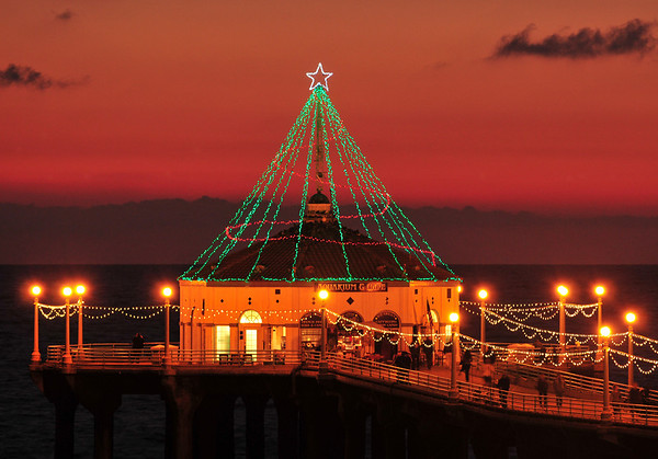 """Tree Lights"".  Manhattan Beach Pier, Manhattan Beach, CA.   Image published on the Front Cover of the ""South Bay Monthly"" Magazine, December 2010 (Manhattan Beach, Hermosa Beach, Redondo Beach & El Segundo Issue)."