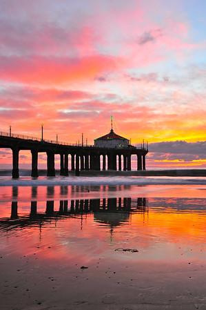"""Warming Winter Sunset"".  Manhattan Beach Pier."