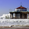 """Big Wednesday Beach Day"". Large swells off the Manhattan Beach Pier 12/5/07. Manhattan Beach, CA"