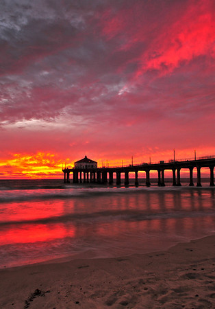 """Bright Reflections"". Manhattan Beach Pier."