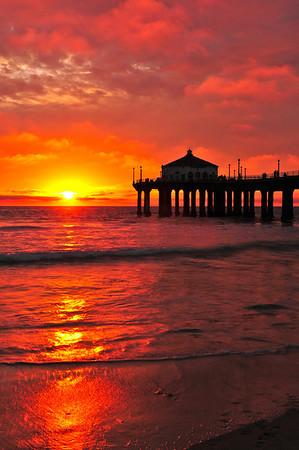 """""""February Fire"""". Manhattan Beach Pier."""