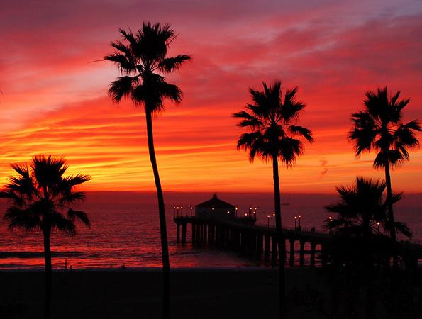 """""""Winter Pink Sunset"""". Manhattan Beach Pier, Manhattan Beach, CA"""