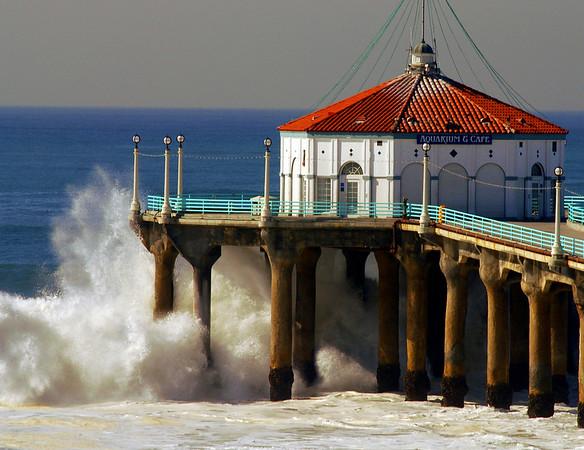 """Big Wednesday Crashing Wave"". Large swells off the Manhattan Beach Pier, 12/5/07. Manhattan Beach, CA"