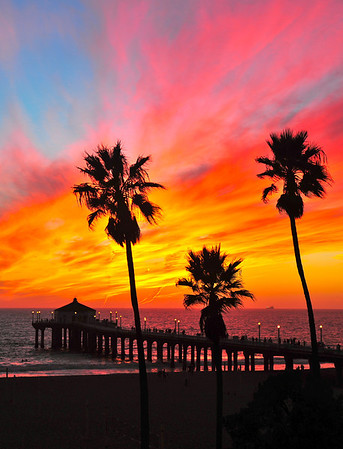 """Hometown Fair Sunset"". (Vertical crop)  Manhattan Beach Pier at sunset, October 2012."