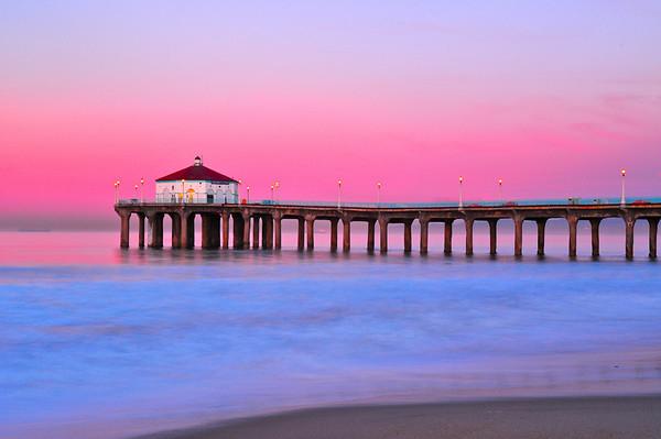 """""""Cotton Candy"""".  Pink sunrise in Manhattan Beach."""