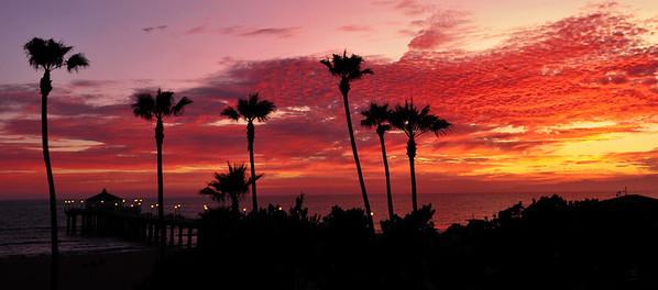"""Pink Palms Sunset"". Manhattan Beach Pier, Manhattan Beach, CA.  Image published on the Front Cover of the ""South Bay Monthly"" Magazine, February 2010 (Manhattan Beach, Hermosa Beach, Redondo Beach & El Segundo Issue)."
