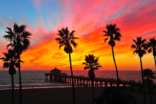"""HomeTown Fair Sunset"". Manhattan Beach Pier at sunset, October 2012."