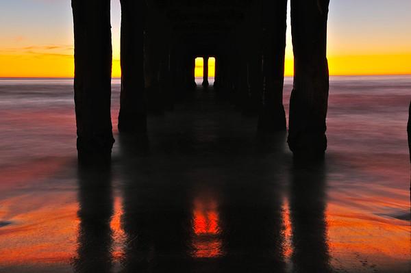 """""""Before Dark"""". Underneath the Manhattan Beach Pier."""