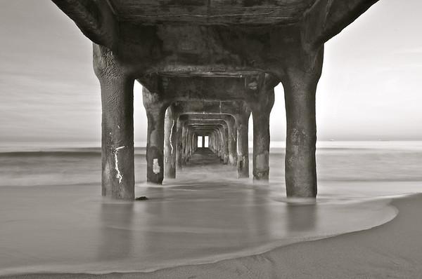 """Back In Time"". Underneath the Manhattan Beach Pier (Black & White)."