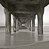 """Back In Time"". Underneath the Manhattan Beach Pier (Black & White)."