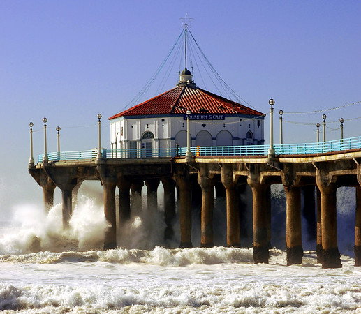 """Big Wednesday Surf"". Large swells off the Manhattan Beach Pier 12/5/07. Manhattan Beach, CA"