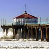 """Big Wednesday Surf"". Large swells off the Manhattan Beach Pier 12/5/07. Manhattan Beach, CA"