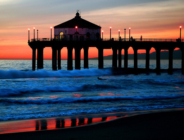 """Manhattan Reflections"".  Image published on the Front Cover of the ""South Bay Monthly"" Magazine, November 2008 (Manhattan Beach, Hermosa Beach, Redondo Beach & El Segundo Issue).  Manhattan Beach, CA"