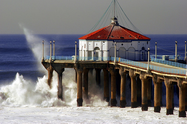 """Big Wednesday Sea Spray"". Large swells off the Manhattan Beach Pier 12/5/07. Manhattan Beach, CA"