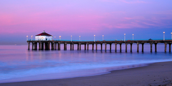 """Twilight Sunrise"". Just prior to sunrise at the Manhattan Beach Pier."