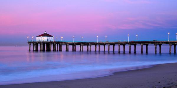 """""""Twilight Sunrise"""". Just prior to sunrise at the Manhattan Beach Pier."""