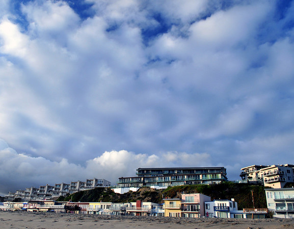 Clouds approach Seacliff State Beach.  Aptos, CA.