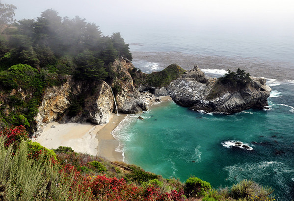 Paradise.  McWay Canyon Waterfall at Julia Pfeiffer Burns State Park. Big Sur, CA