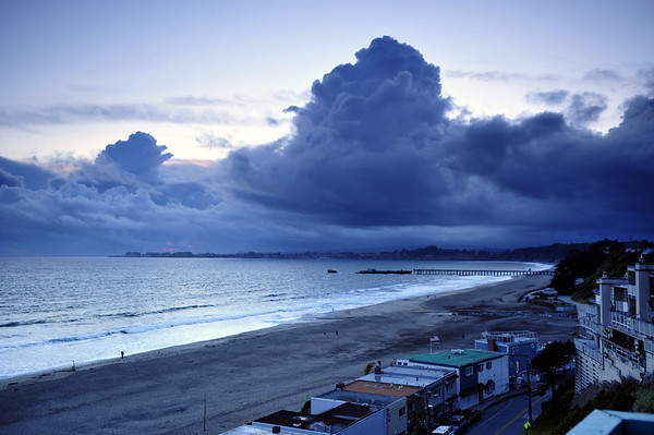 """""""Thunderheads Approaching"""".  Large storm clouds approach Seacliff State Beach.  Aptos, CA."""