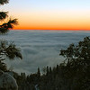 Sunset and fog-bank overlooking the Fresno Valley while on decent from Sequoia National Park.