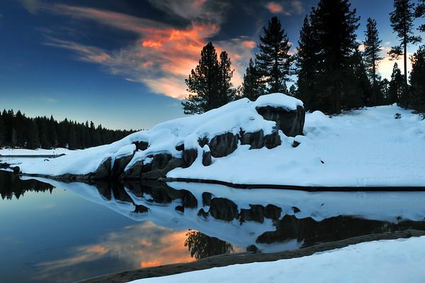 Orange Cloud Reflections. Dorabella Cove, Shaver Lake, CA