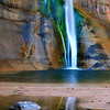 """Blue Lagoon"". Calf Creek Falls, back country of Boulder Mt., Utah."
