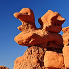 "Goblin Valley State Park, UT. A large ""duck"" rock formation sits perched above, overlooking the amphitheater.  <br /> From deposits laid approx. 170 million years ago, Goblin Valley State Park has been sculpted by forces of nature by the forces of wind and water.  The goblins are made of Entrada sandstone which shows evidence of being near an ancient sea millions of years ago. The edges of the sandstone weather more quickly producing spherical-shaped goblins."