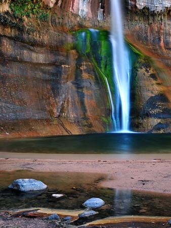 """""""Emerald Falls"""". Calf Creek Falls, back country of Boulder Mt.,  Utah."""