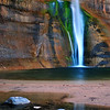 """Emerald Falls"". Calf Creek Falls, back country of Boulder Mt.,  Utah."