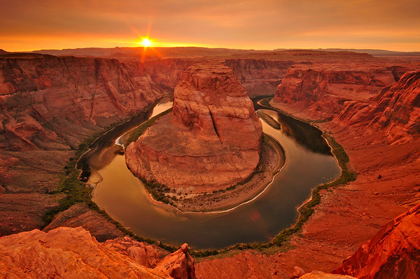 """Horseshoe Bend"".  Sunset at Grand Canyon, Page, AZ"