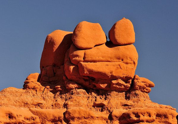 Goblin Valley State Park, UT. This particular rock formation looks just like a FROG! <br /> From deposits laid approx. 170 million years ago, Goblin Valley State Park has been sculpted by forces of nature by the forces of wind and water.  The goblins are made of Entrada sandstone which shows evidence of being near an ancient sea millions of years ago. The edges of the sandstone weather more quickly producing spherical-shaped goblins.