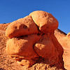 "Goblin Valley State Park, UT. This rock formation is one of the many reasons the park holds it's unique name.  Behold, ""Mr. Goblin"" himself! <br /> From deposits laid approx. 170 million years ago, Goblin Valley State Park has been sculpted by forces of nature by the forces of wind and water.  The goblins are made of Entrada sandstone which shows evidence of being near an ancient sea millions of years ago. The edges of the sandstone weather more quickly producing spherical-shaped goblins."