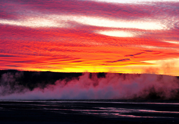 Sunset over Grand Prismatic Geyser Basin. Yellowstone National Park