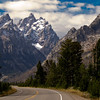 The road that leads to Grand Teton National Park.