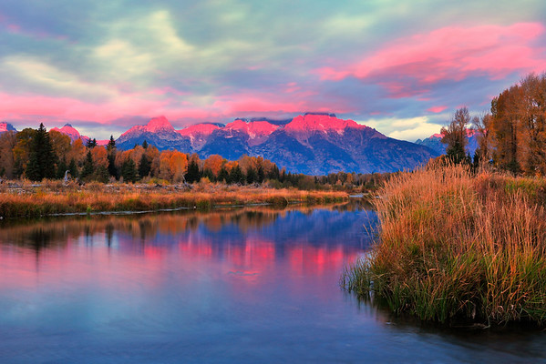 """Cotton Candy Sunrise"".  Schwabacher's Landing, Grand Teton National Park, WY.  10/11"