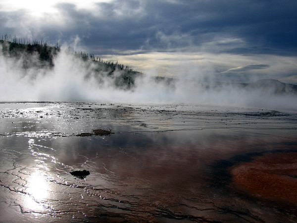 Storm approaching over Grand Prismatic Geyser Basin. Yellowstone National Park