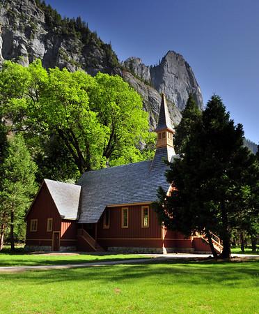 The Yosemite Valley Chapel in springtime, Yosemite National Park.