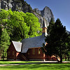 The Yosemite Valley Chapel in springtime, Yosemite National Park.