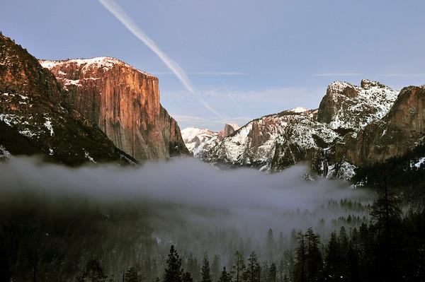 Fog over Yosemite Valley. Yosemite National Park