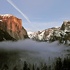 Fog over Yosemite Valley. Yosemite National Park