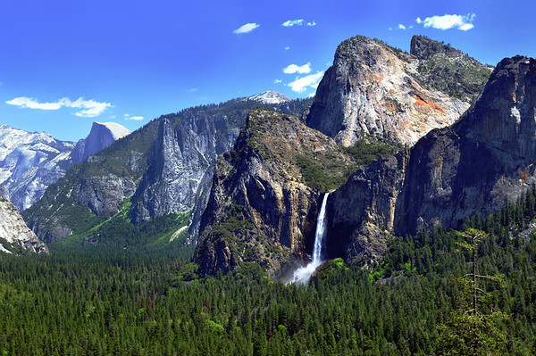 """Bridalveil Falls at Tunnel View"".  Yosemite National Park in the Springtime."