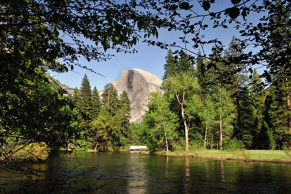 The Merced River with Half Dome in the background. Springtime in Yosemite National Park.