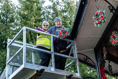 Hazel Baker and Stewart Martin adding the final poppies to Ripon's bandstand in Spa Gardens for this year's Remembrance