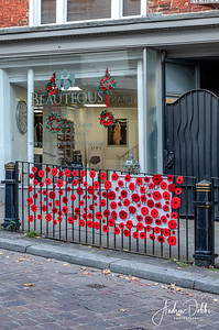 Poppy display at Beauteous Nail and Beauty Salon in Ripon for this year's Remembrance