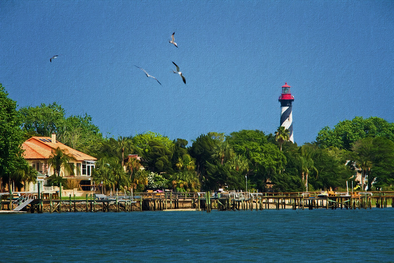 St Augustine lighthouse, painted