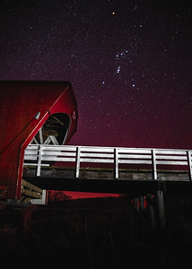 Orion over the Hogback Covered Bridge of Madison County Iowa