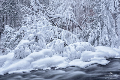 Skeleton River in Winter, Muskoka, Ontario, Canada