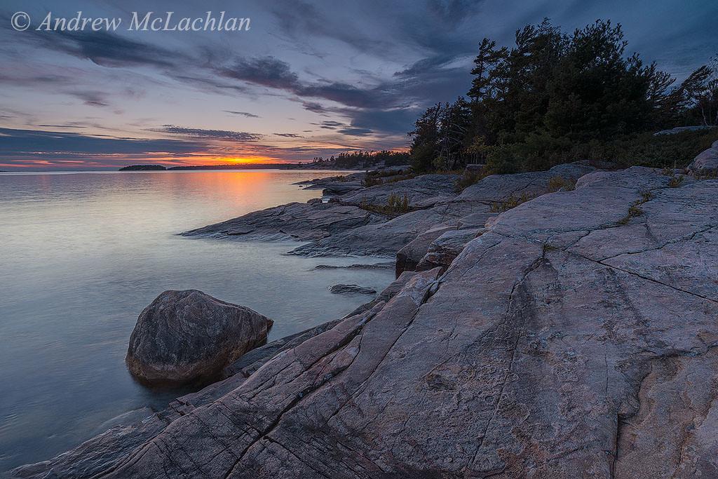 Georgian Bay at Sunset in Killbear Provincial Park